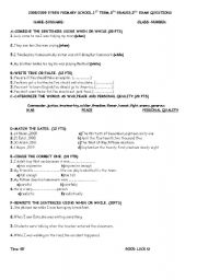 English Worksheets: exam questions 2