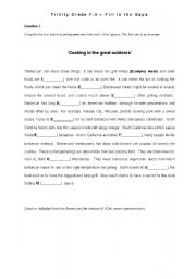 English worksheet: The Great Outdoors  (cloze test) - American Culture