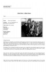 English Worksheet: Listening: Pink Floyd, High Hopes
