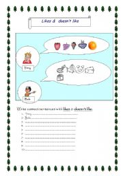 English Worksheets: likes/ doesn�t like