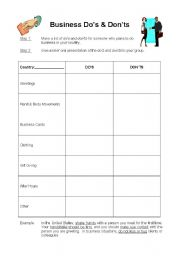 English Worksheets: Business Do�s & Don�ts