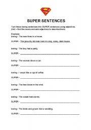 english worksheets super sentences. Black Bedroom Furniture Sets. Home Design Ideas