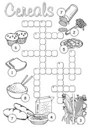 English Worksheets: Cereals Crossword