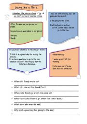 English Worksheets: Reading Comprehension / Guided Writing Task-Thank you note/3 pages