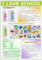 English Worksheet: I LOVE SCHOOL
