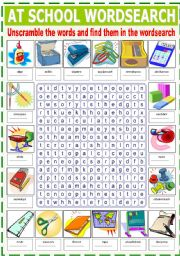 English Worksheets: AT SCHOOL WORDSEARCH