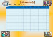 English Worksheet: Oral Presentation Grid