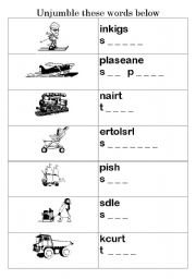 English teaching worksheets: The transports