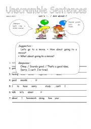 English Worksheets: Let�s ~/ How about ~?