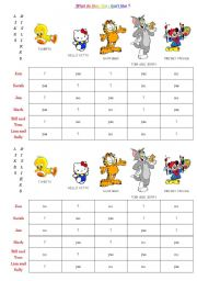 English Worksheet: likes and dislikes cartoon characters pairwork