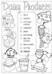 English Worksheets: Dairy Pictionary