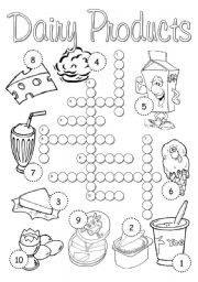 English Worksheets: Dairy Products Crossword