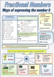 English Worksheets: FRACTIONAL NUMBERS.WAYS OF EXPRESSING THE NUMBER �O� - Grammar-guide