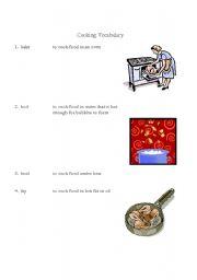 English Worksheet: Cooking Vocabulary (Verbs)