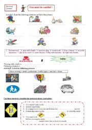 English Worksheet: you must be careful (part1)