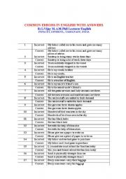 English Worksheets: COMMON ERRORS IN ENGLISH WITH ANSWERS
