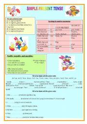 English Worksheet: Present Tense (2 pages)