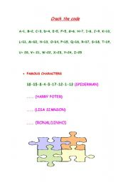 English Worksheets: crack the code