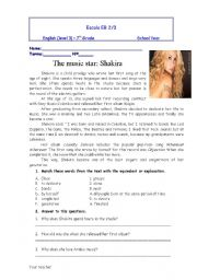 English Worksheet: text about shakira with questions