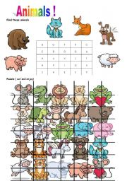 English Worksheets: fun with animals 2