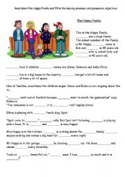 English Worksheet: mixed pronouns and possessive adjectives