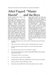 English Worksheets: Master Harold and the Boys - Reading Comprehension