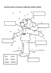 English Worksheet: Labeling Winter Clothes