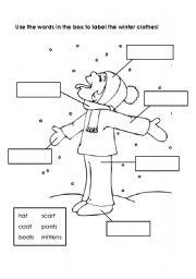 english worksheets labeling winter clothes. Black Bedroom Furniture Sets. Home Design Ideas