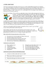 English Worksheets: Comprehension - A walk in the woods