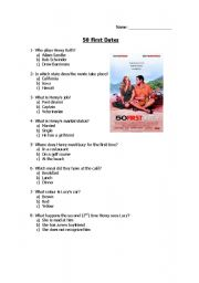 50 First Dates movie questionnaire