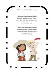English Worksheet: Ten little indians song