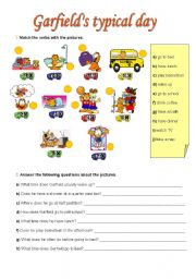 English Worksheet: Garfield´s typical day