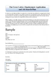English Worksheets: Cover Letter, Job Application, Job Seach Plan