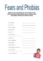 English Worksheets: Fears and Phobias 1