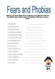 English Worksheet: Fears and Phobias 2
