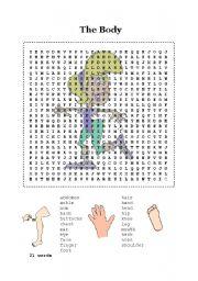 English Worksheet: Crossword - The body
