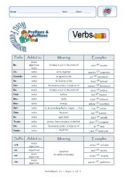 English Worksheet: Prefixes and Suffixes-Verbs