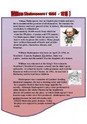 English Worksheets: William Shakespear