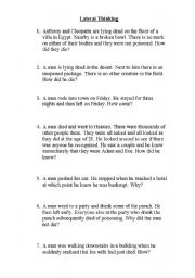 Intermediate ESL worksheets: Lateral Thinking Puzzles