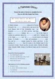 English Worksheets: A famous ghost - Revising the simple past tense