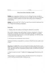 English Worksheet: Using Figurative Language - Similes and Metaphors