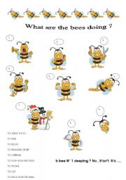 English Worksheet: what are the bees doing