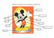 English Worksheet: Body parts of Mickey Mouse