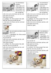 English Worksheets: THE DIFFERENCE BETWEEN DOGS AND CATS  (JOKE)