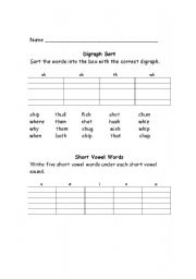 English Worksheets: Digraph Practice
