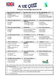 English worksheet: a uk quiz