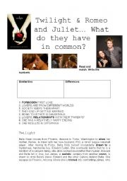 English Worksheet: TWilight & Romeo and Juliet