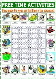 English Worksheet: FREE TIME ACTIVITIES WORDSEARCH