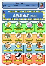English Worksheet: ANIMALS PUZZLE