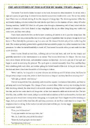English Worksheet: TOM SAWYER - reading